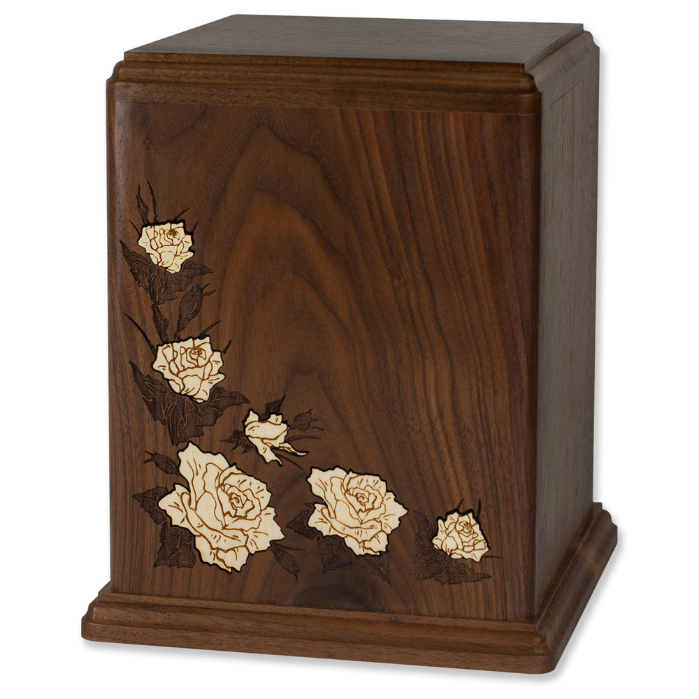 Walnut Wood Cremation Urn with White Floral Inlay