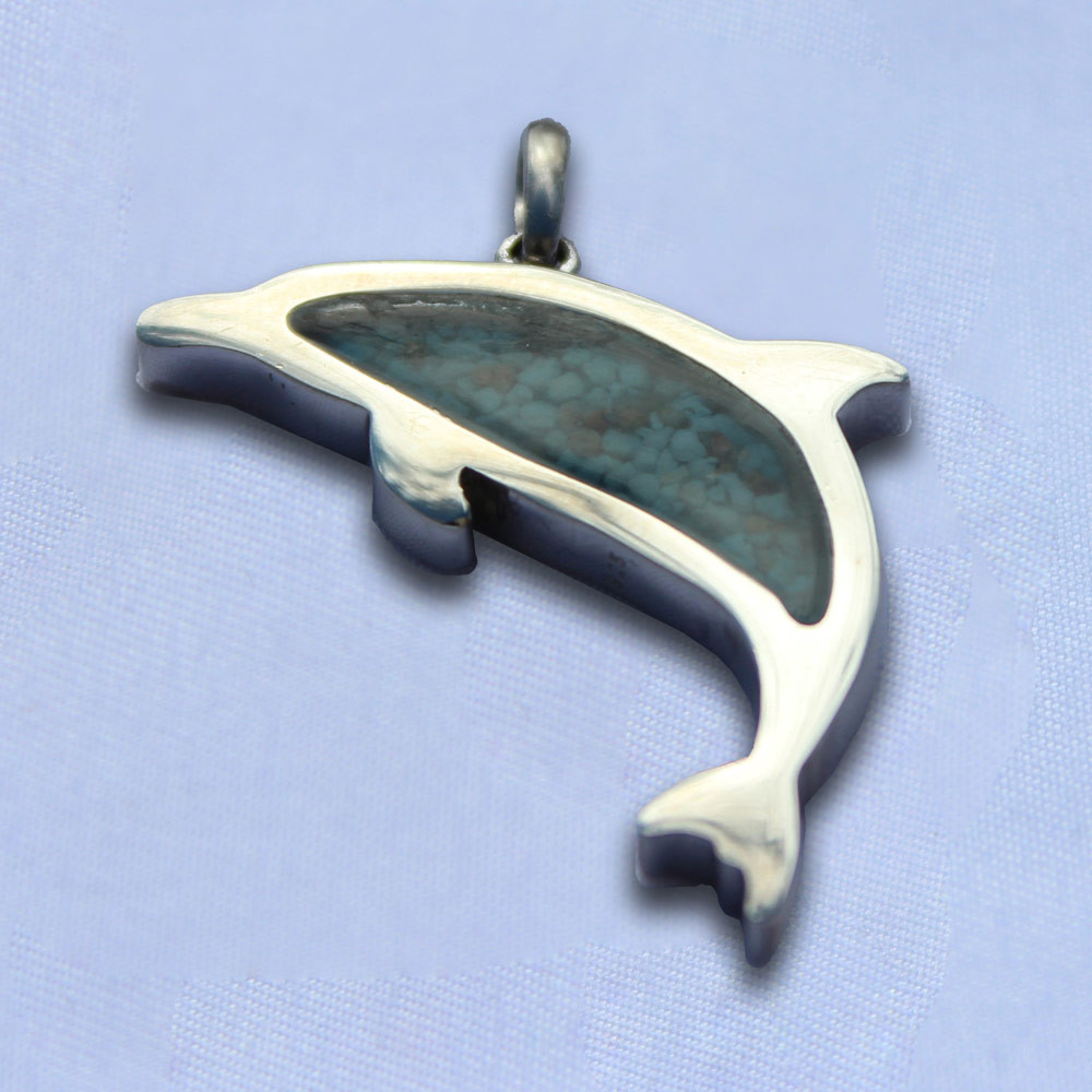 Dolphin Cremation Jewelry Necklace - Blue