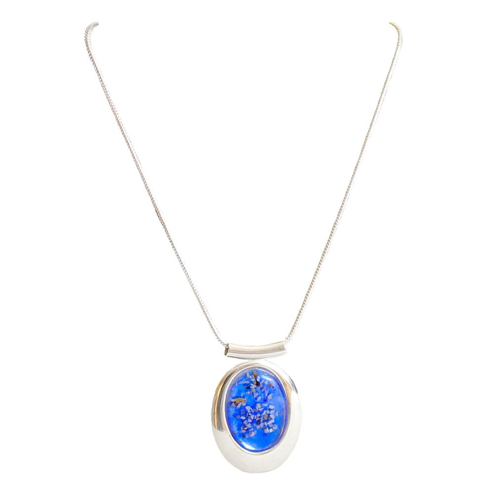 Large Oval Deluxe Blue Memorial Necklace in Sterling Silver