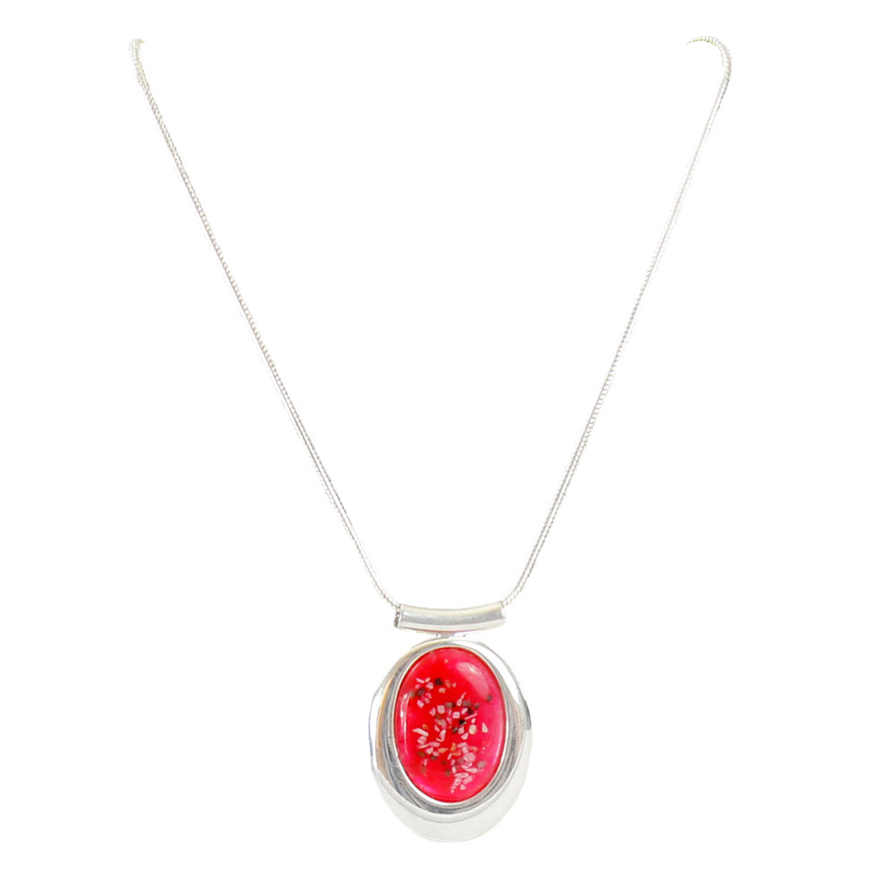 Large Oval Deluxe Red Memorial Necklace in Sterling Silver