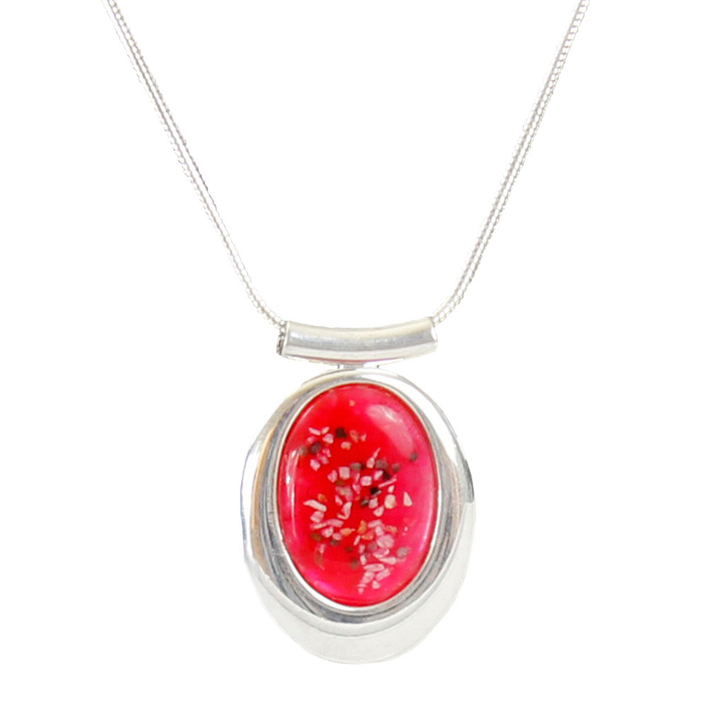 "Large Oval Deluxe Red Memorial Necklace - ""Mosaic"""
