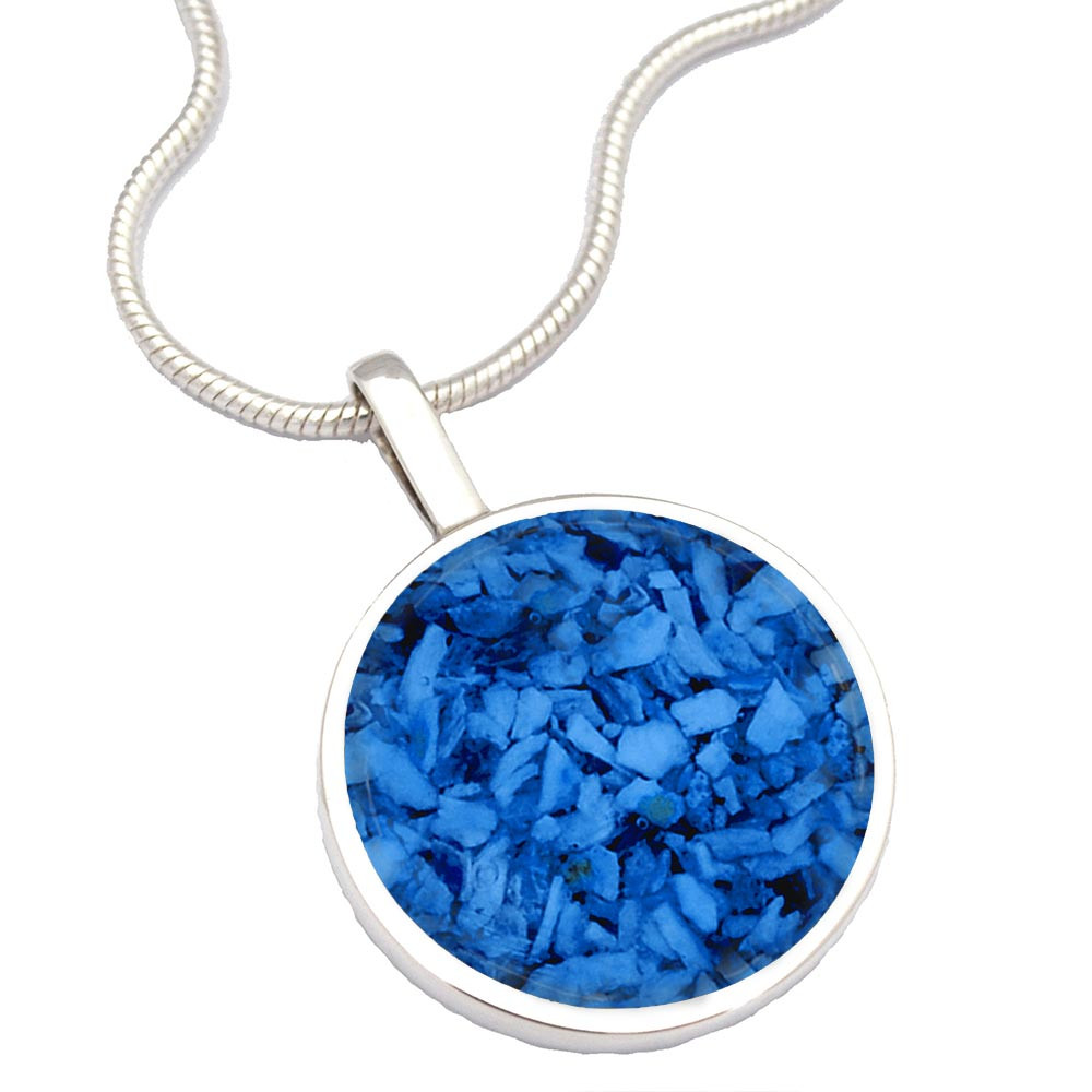 Sterling Silver Cremation Necklace - Made From Ashes - Blue