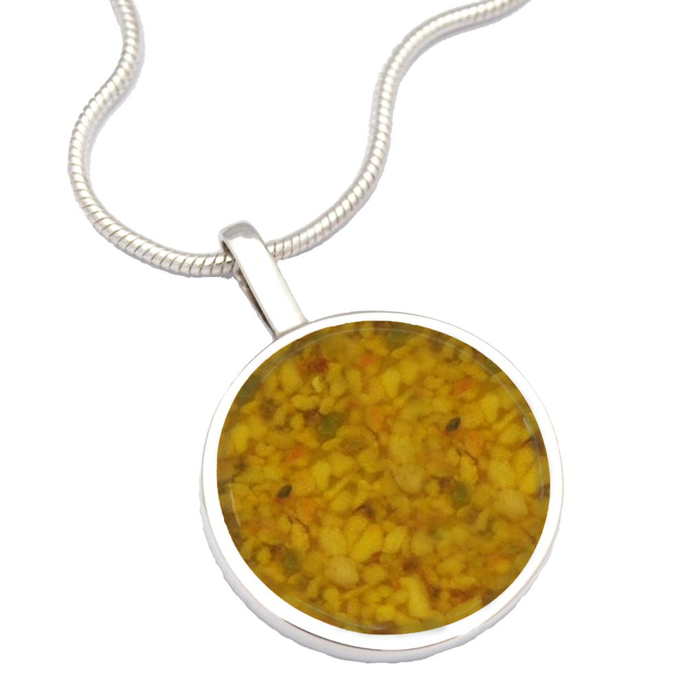 Sterling Silver Cremation Necklace - Made From Ashes - Yellow