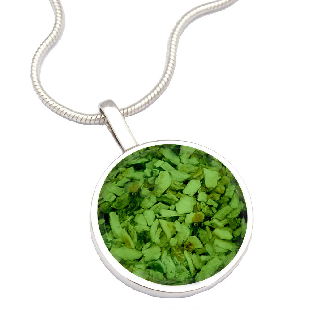 Sterling Silver Cremation Necklace - Made From Ashes - Green