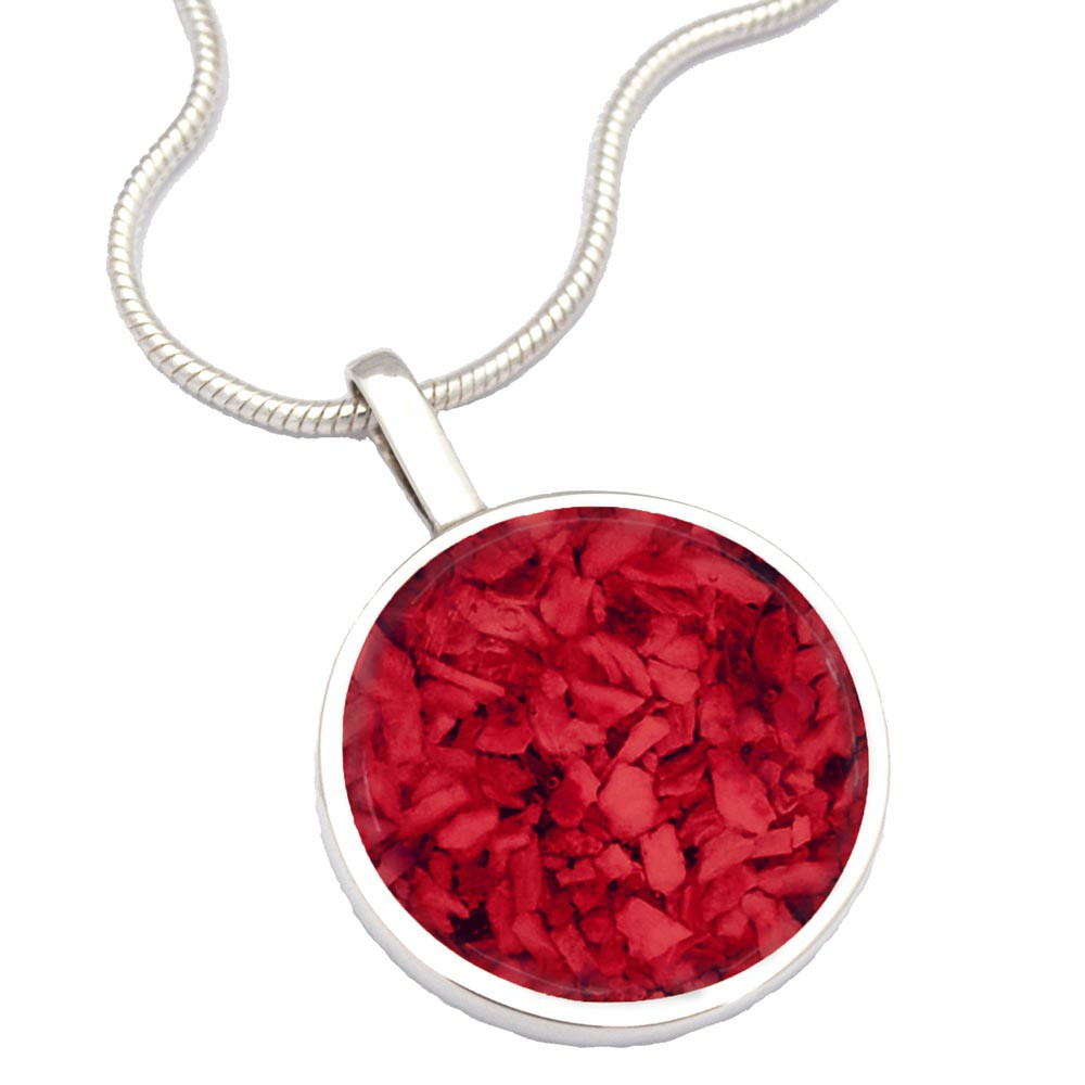 Sterling Silver Cremation Necklace - Made From Ashes - Red
