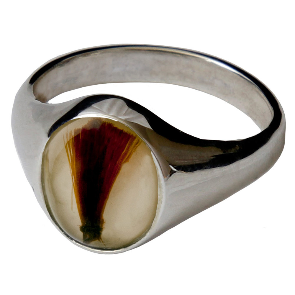 Memorial Signet Ring made with Hair - Clear