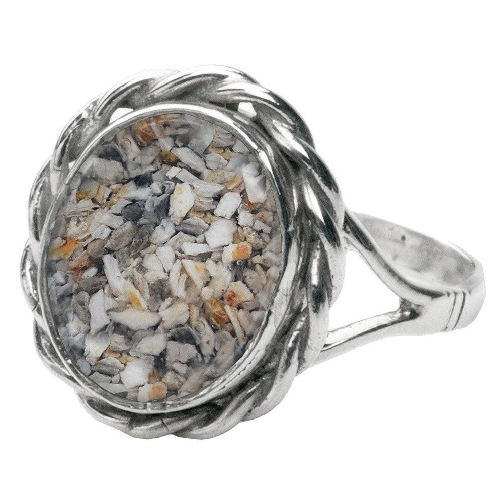 Memorial Filigree Ring made with Cremated Ashes - Clear