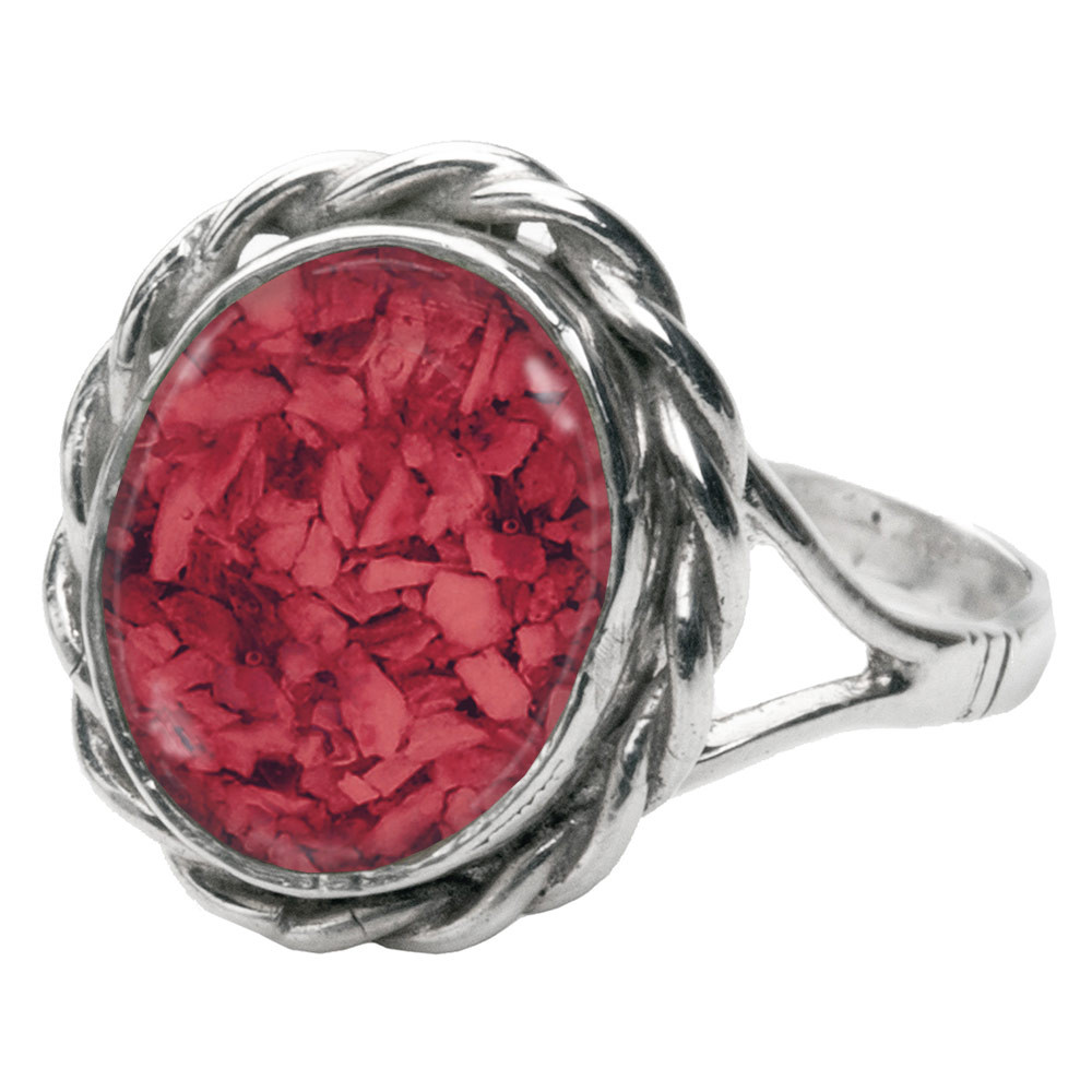 Memorial Filigree Ring made with Cremated Ashes - Red