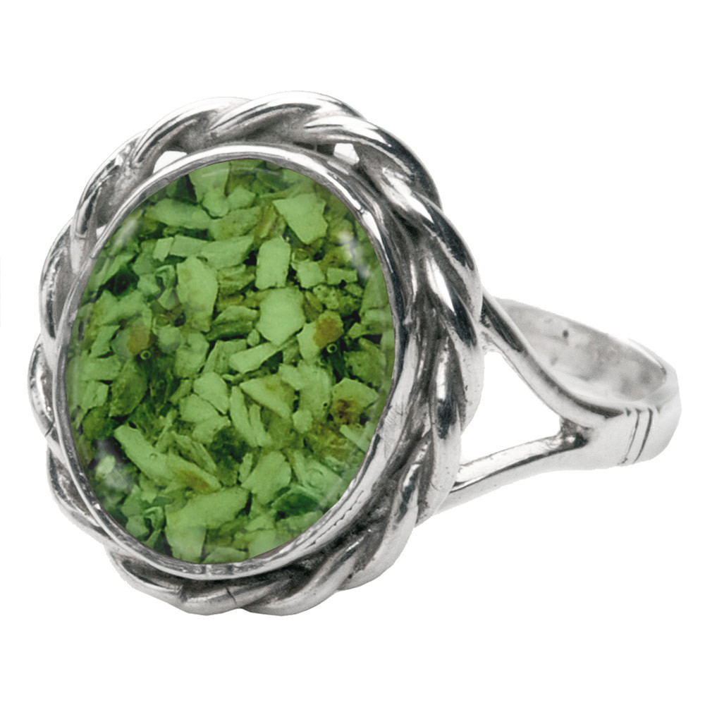 Memorial Filigree Ring made with Cremated Ashes - Green