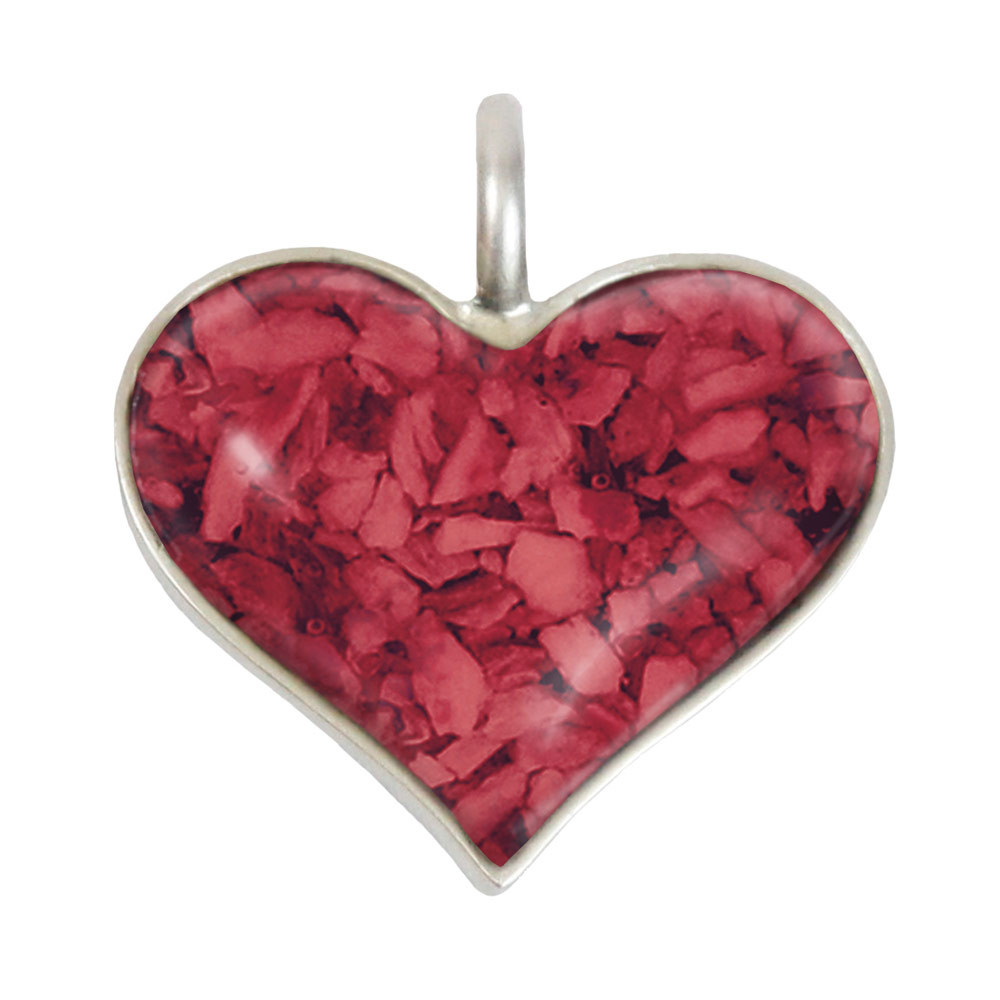 "Heart Memorial Necklace Made From Cremated Remains - ""Granite"""