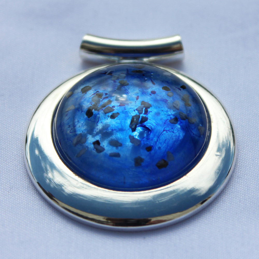Large Round Deluxe Cremation Necklace Made from Ashes - Blue, Mosaic