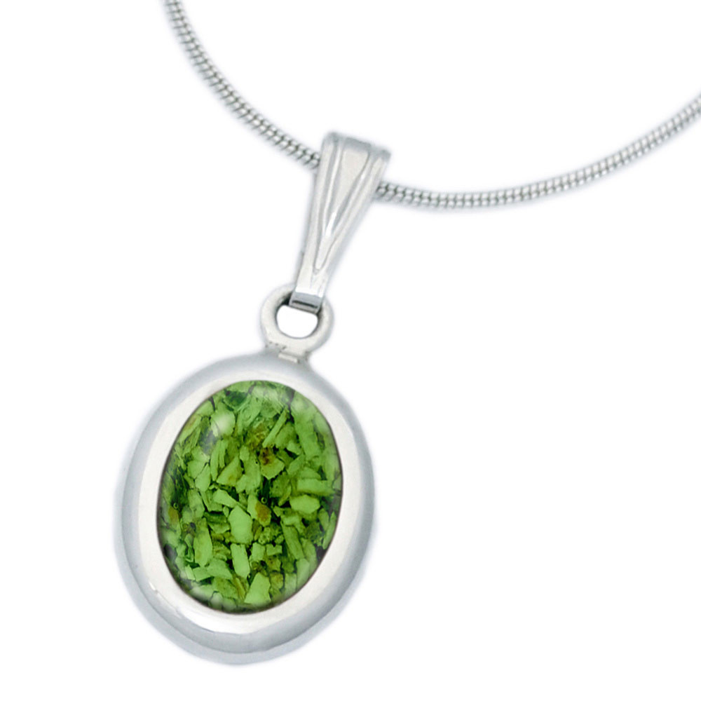 Small Oval Cremation Necklace in Sterling Silver - Green