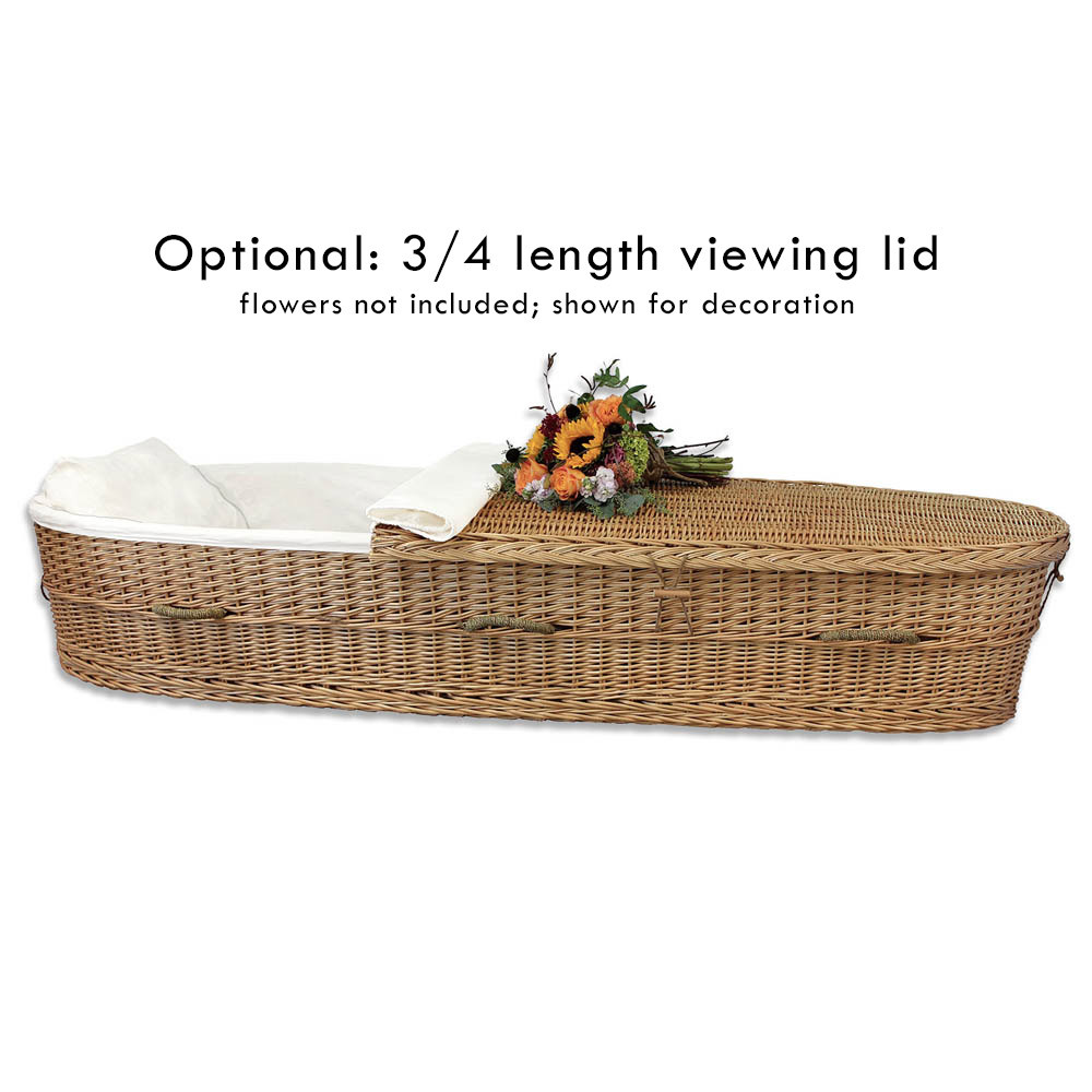 Optional 3/4 length lid for funeral viewing