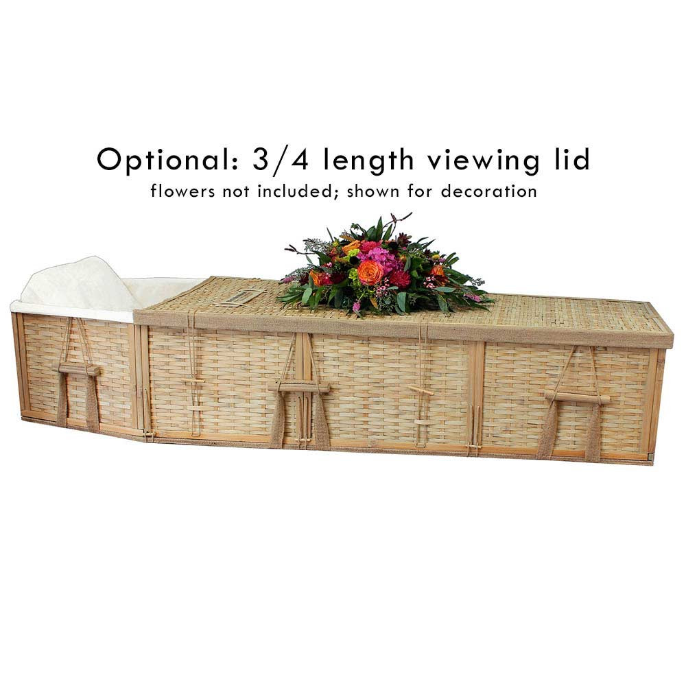 Optional 3/4 length viewing lid is available with this casket