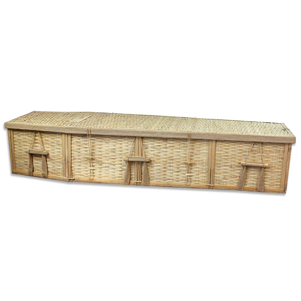 Biodegradable 6-Point Bamboo Coffin for Burial or Cremation