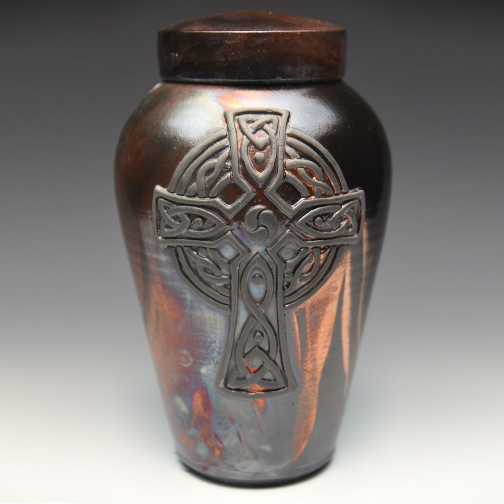 Handcrafted Celtic Cross Cremation Urn - New Black Finish