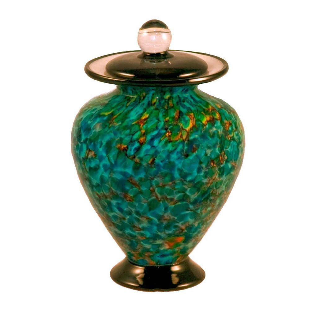 Hand Blown Glass Cremation Urn - Amato Aegean in Small