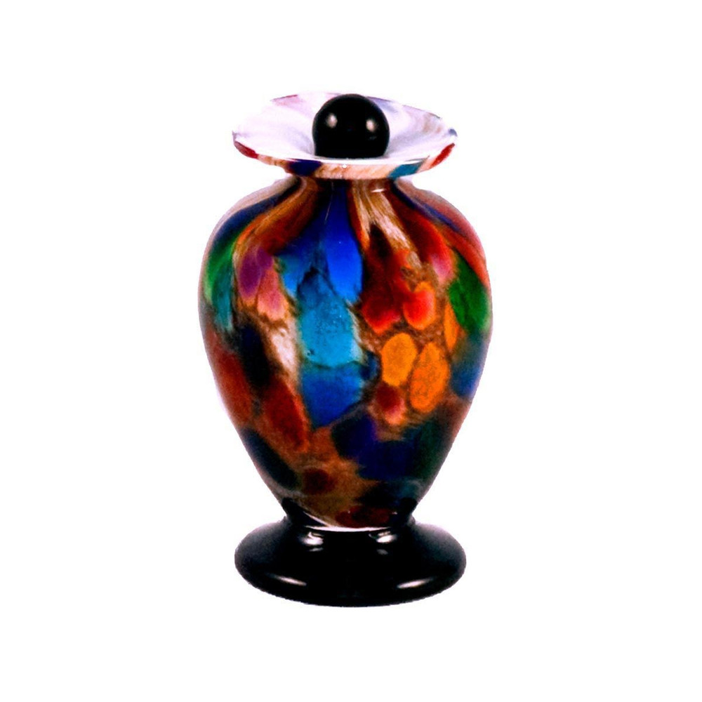 Amato Autumn Hand Blown Glass Cremation Urn in Keepsake