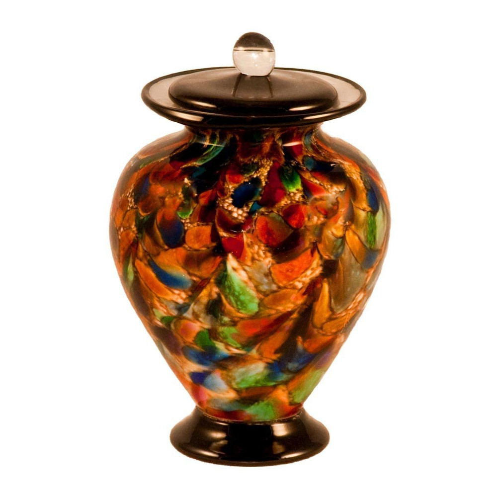 Amato Autumn Hand Blown Glass Cremation Urn in Small