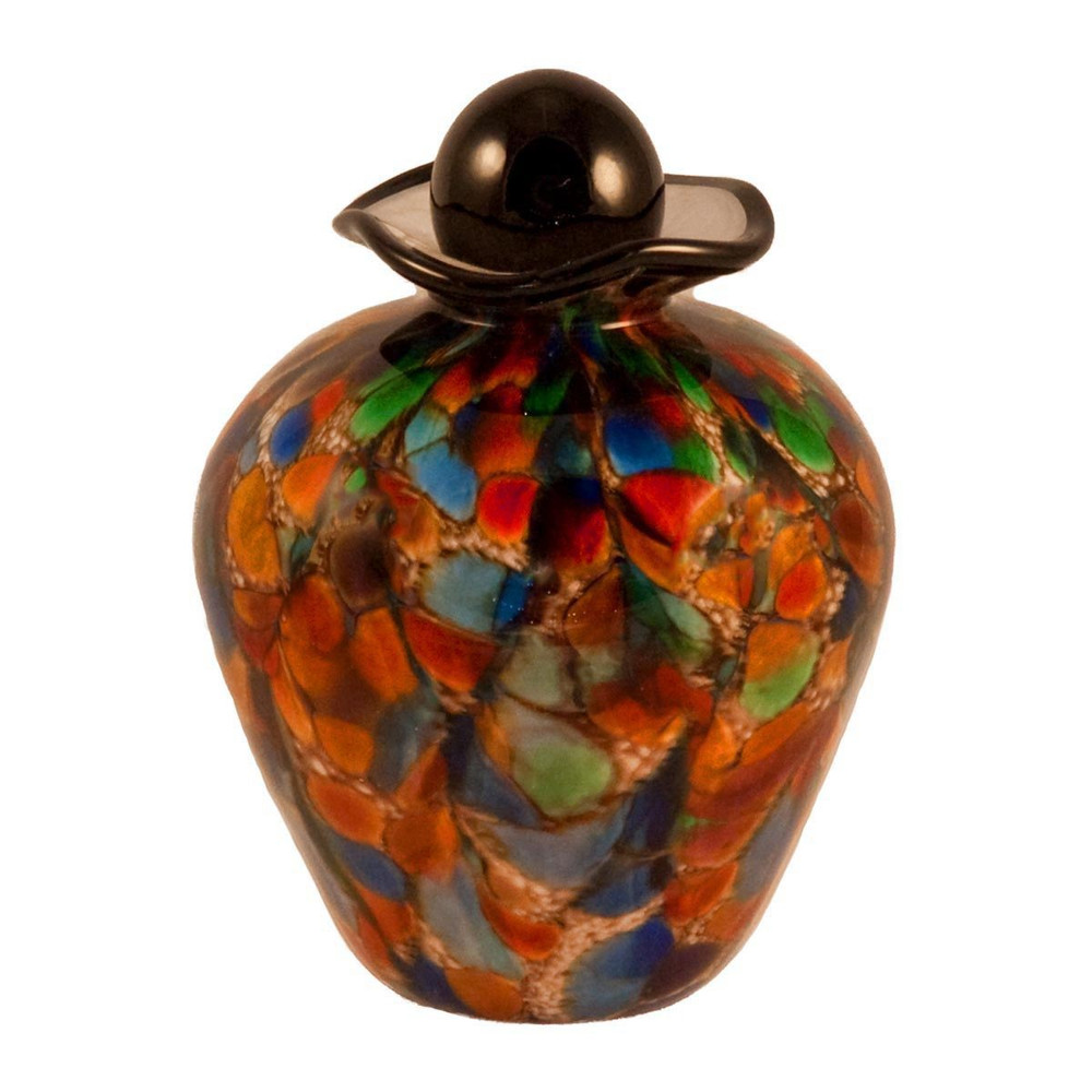 Hand Blown Glass Funeral Urn - Bella - Autumn - Small