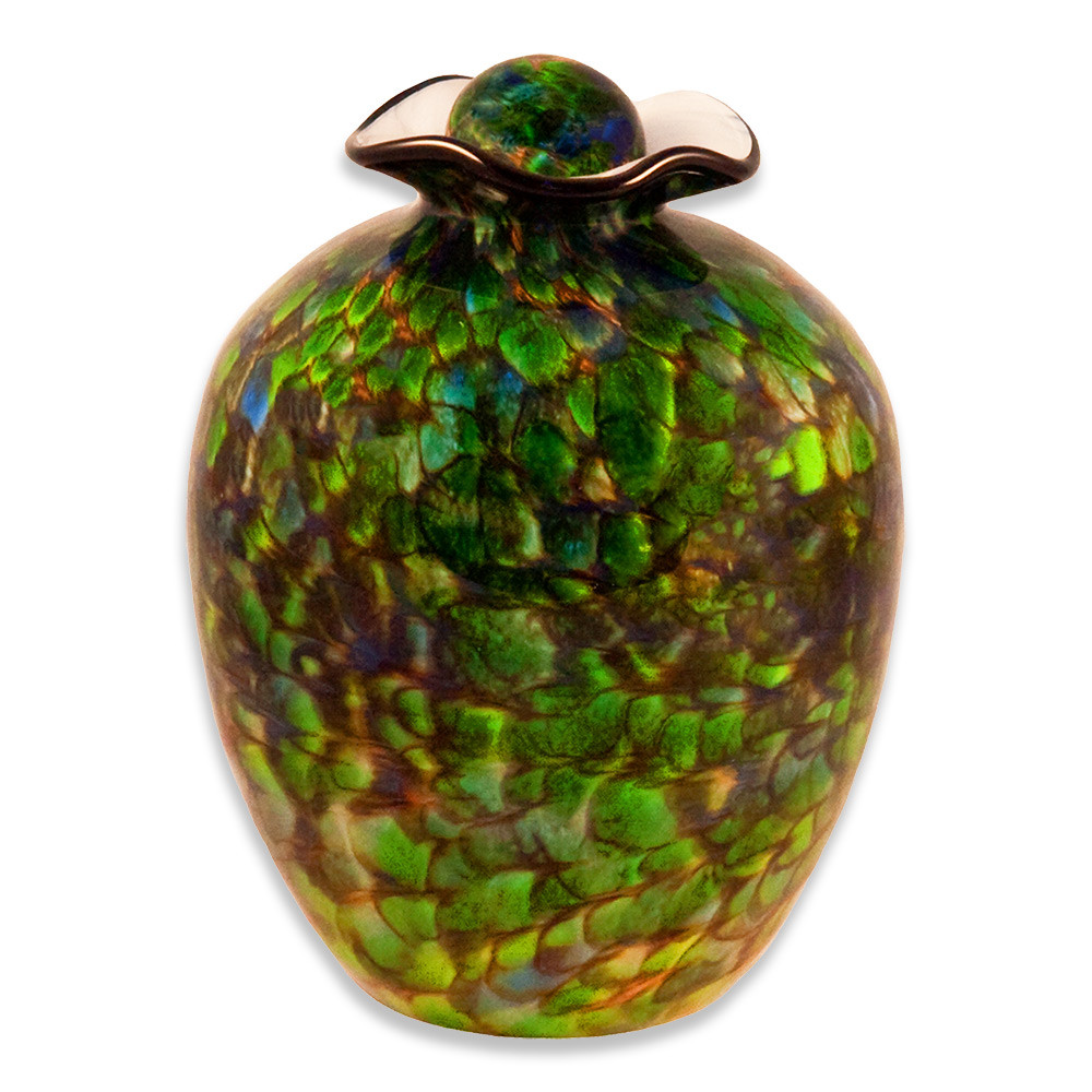 Hand Blown Glass Funeral Urn - Bella - Forest