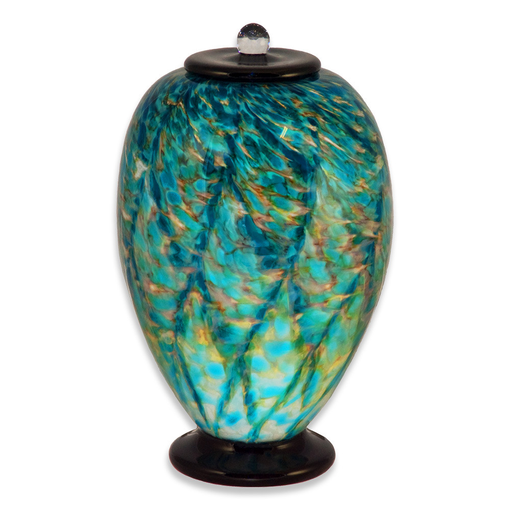 Deco Hand Blown Glass Funeral Urn - Aegean