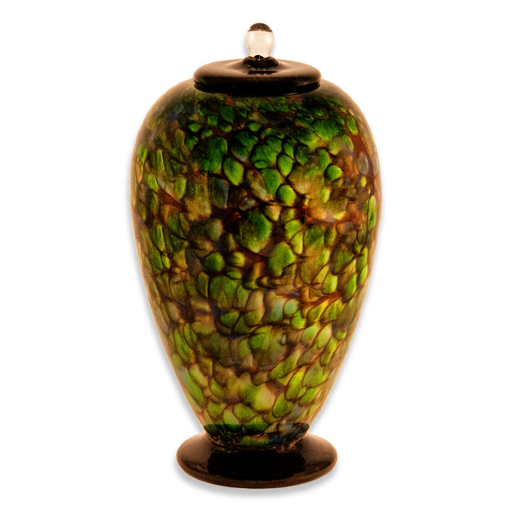 Deco Hand Blown Glass Funeral Urn - Forest