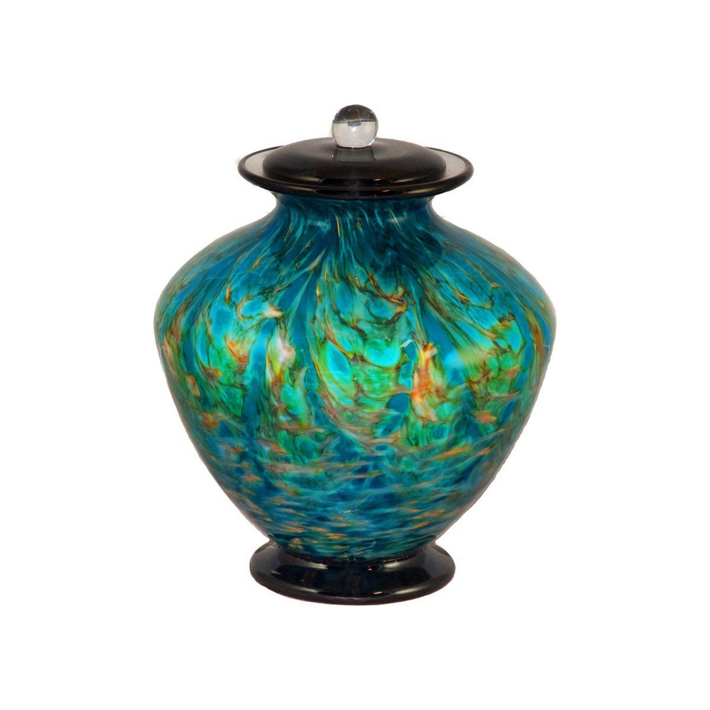 Greco Hand Blown Glass Funeral Urn - Aegean Keepsake (will be darker than Adult size)