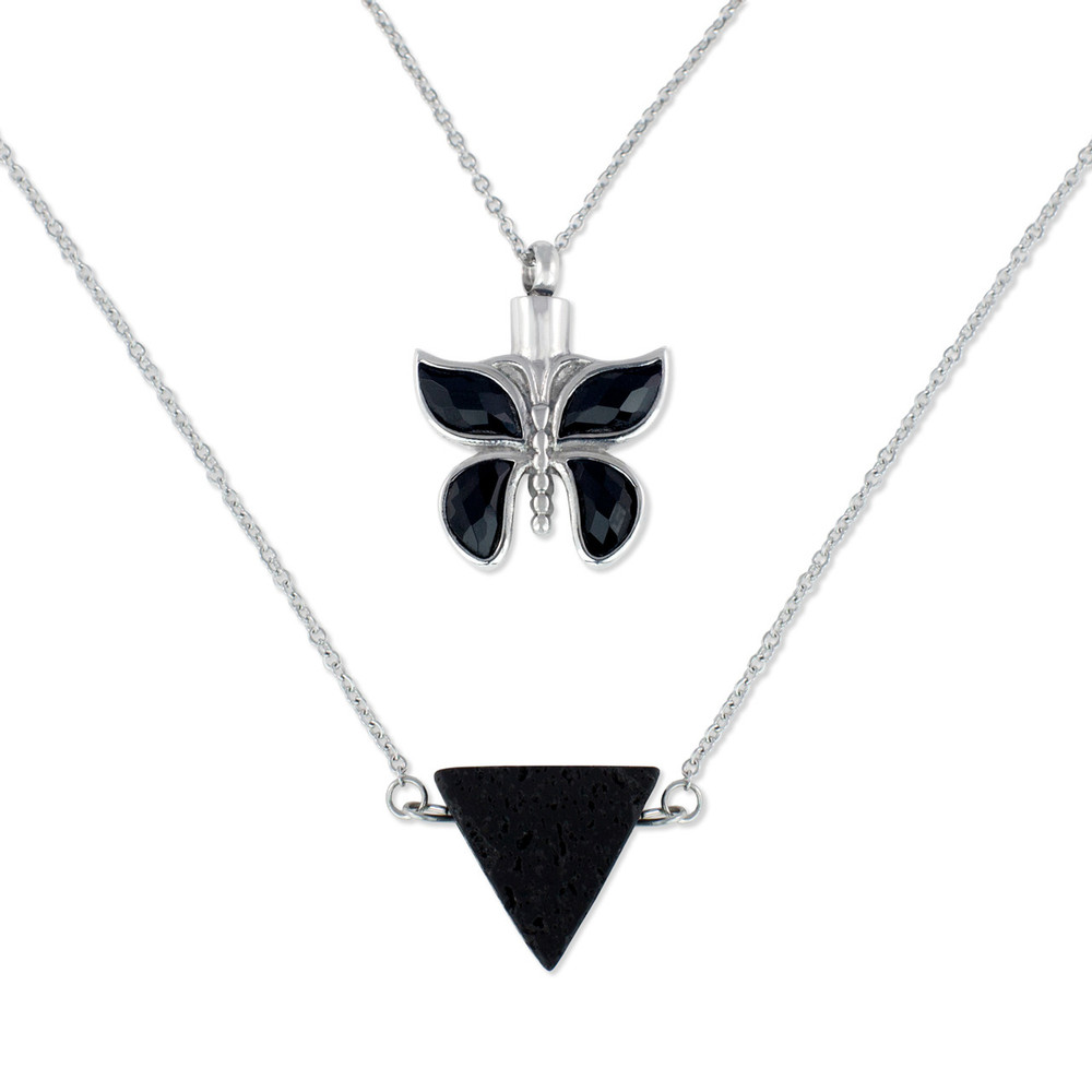 Butterfly Cremation Urn Necklace with Lava Rock