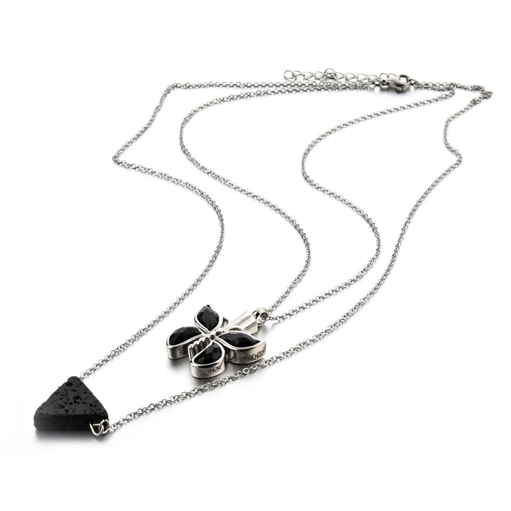 Stainless steel necklace chain and pendant with lava rock essential oil diffusion bead