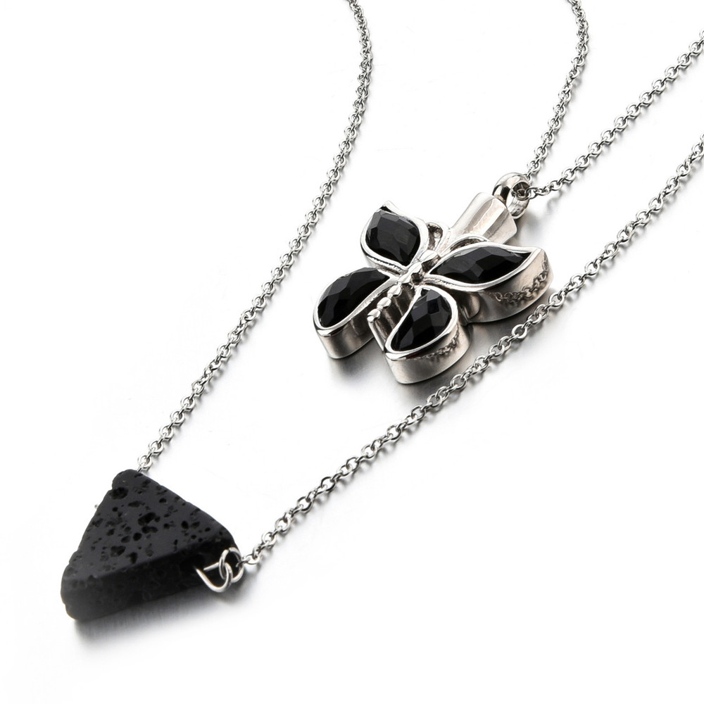 Cremation Jewelry Memorial Necklace - Butterfly & Lava Rock Diffuser