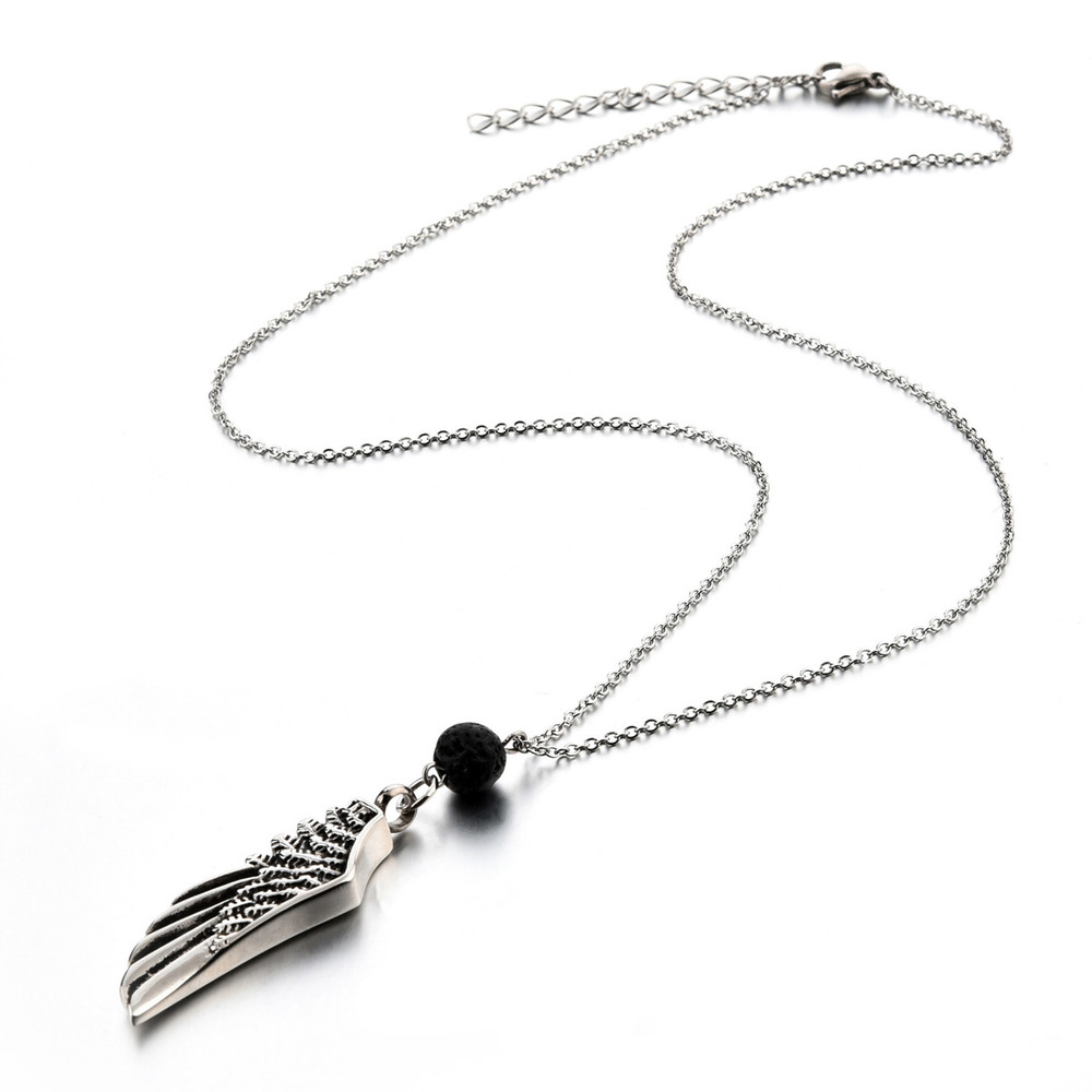 Stainless steel necklace chain and pendant with lava rock essential oil diffuser bead
