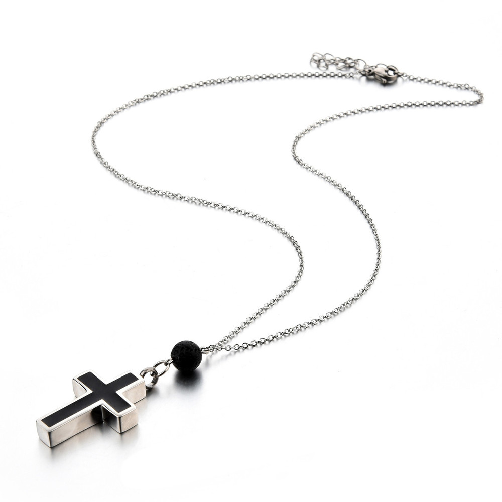 Stainless steel necklace chain and urn pendant with lava rock essential oil diffuser bead
