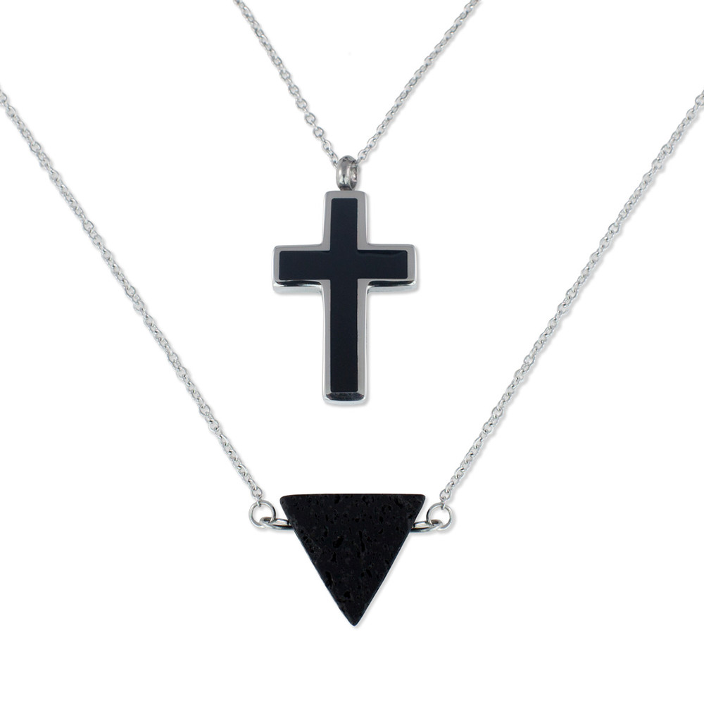 Cross Cremation Necklace with Double Chain