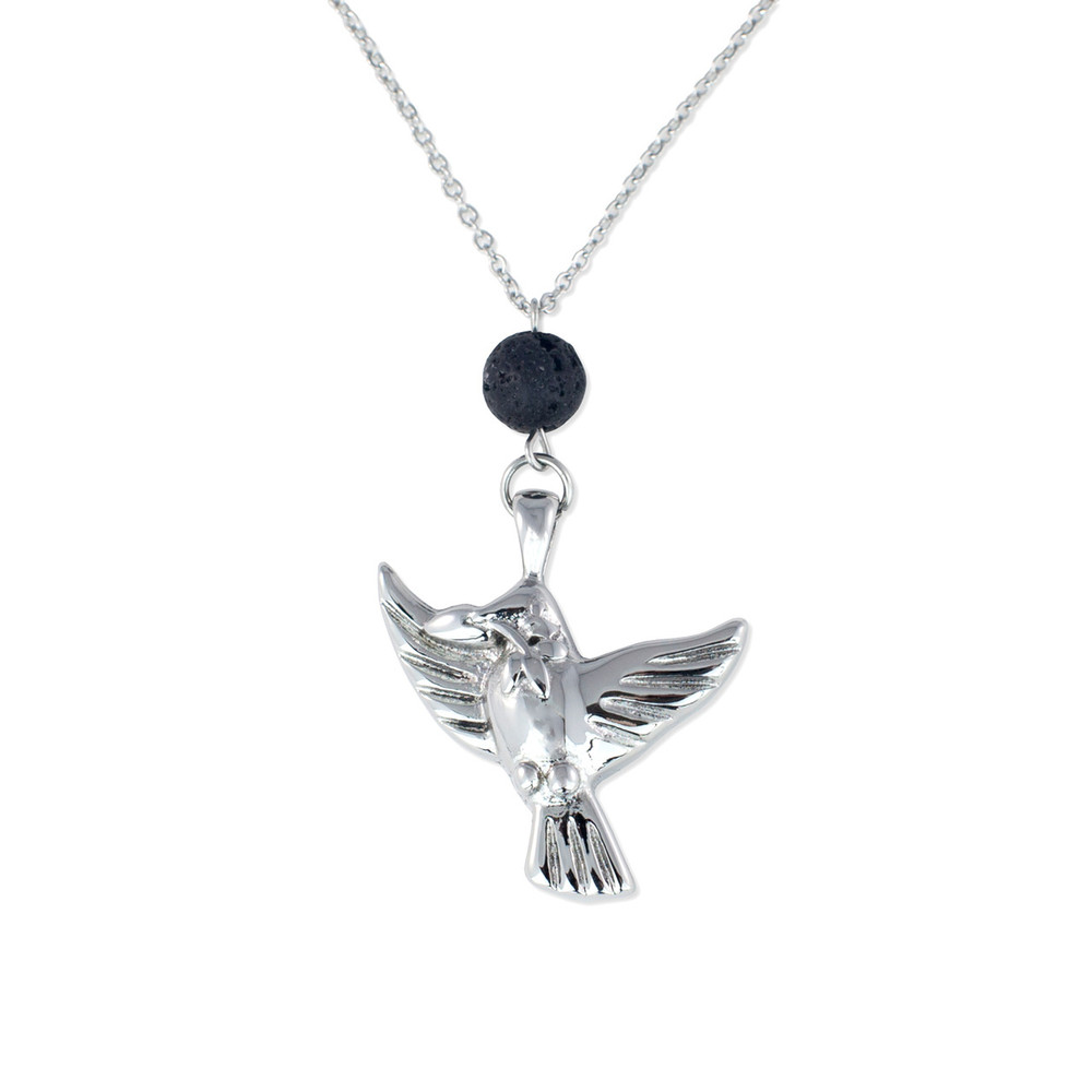 Cremation Jewelry Necklace with Lava Rock Bead
