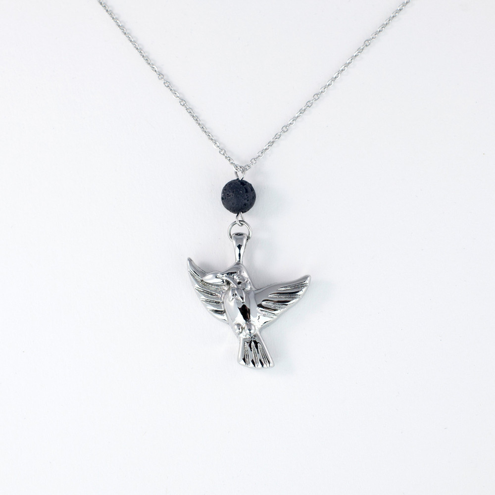Elegant memorial necklace with lava rock essential oil diffusion bead and dove pendant