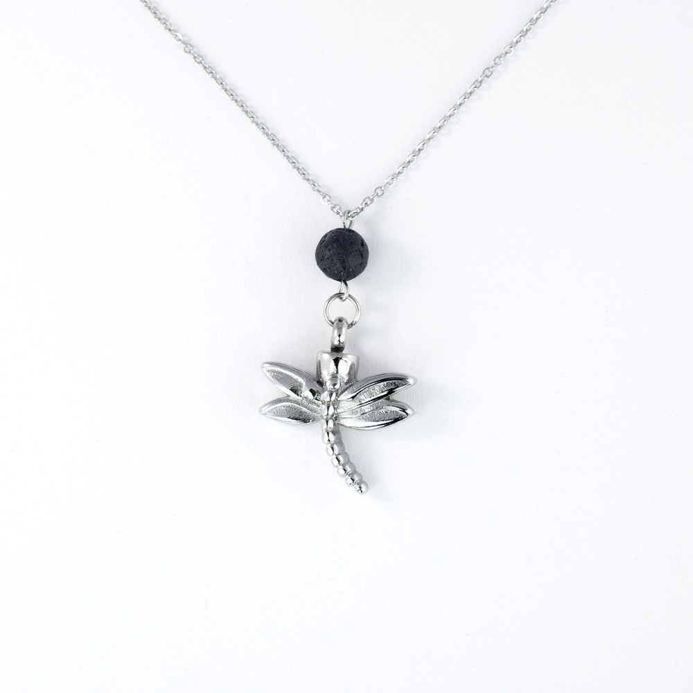 Beautiful dragonfly cremation urn necklace