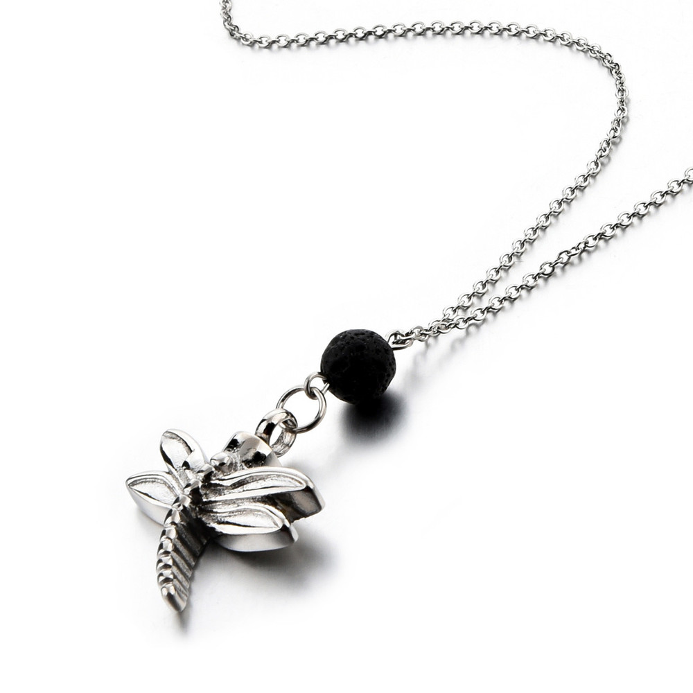 Dragonfly Cremation Necklace with Essential Oil Lava Rock Bead