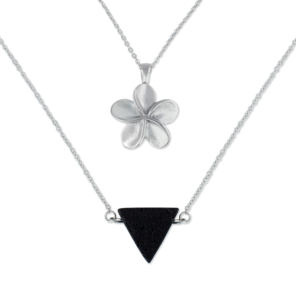 Floral Cremation Urn Necklace and Lava Rock Triangle Bead