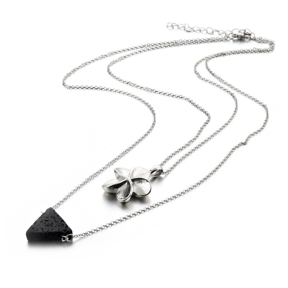 Stainless steel double chain and pendant with lava rock essential oil diffusion bead