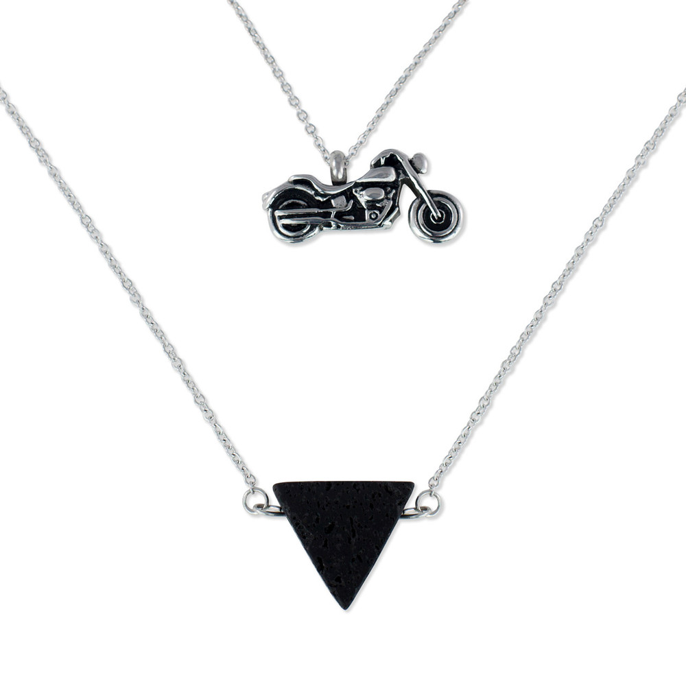 Cremation Necklace with Motorcycle Urn Pendant
