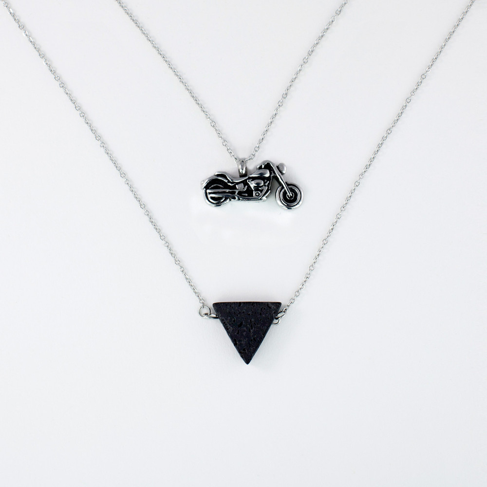 Essential Oil Aromatherapy Cremation Necklace with Motorcycle Urn Pendant