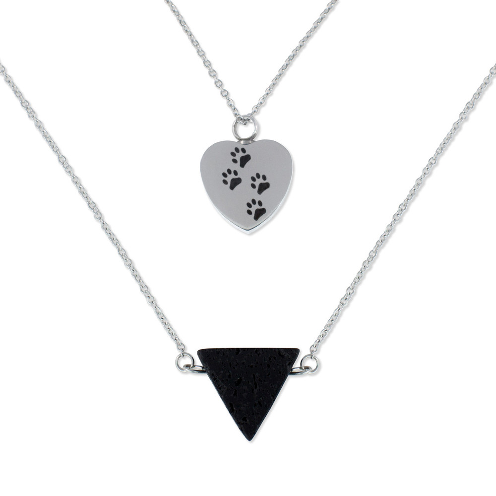 Paw Print Heart Memorial Necklace with Essential Oil Diffuser Bead