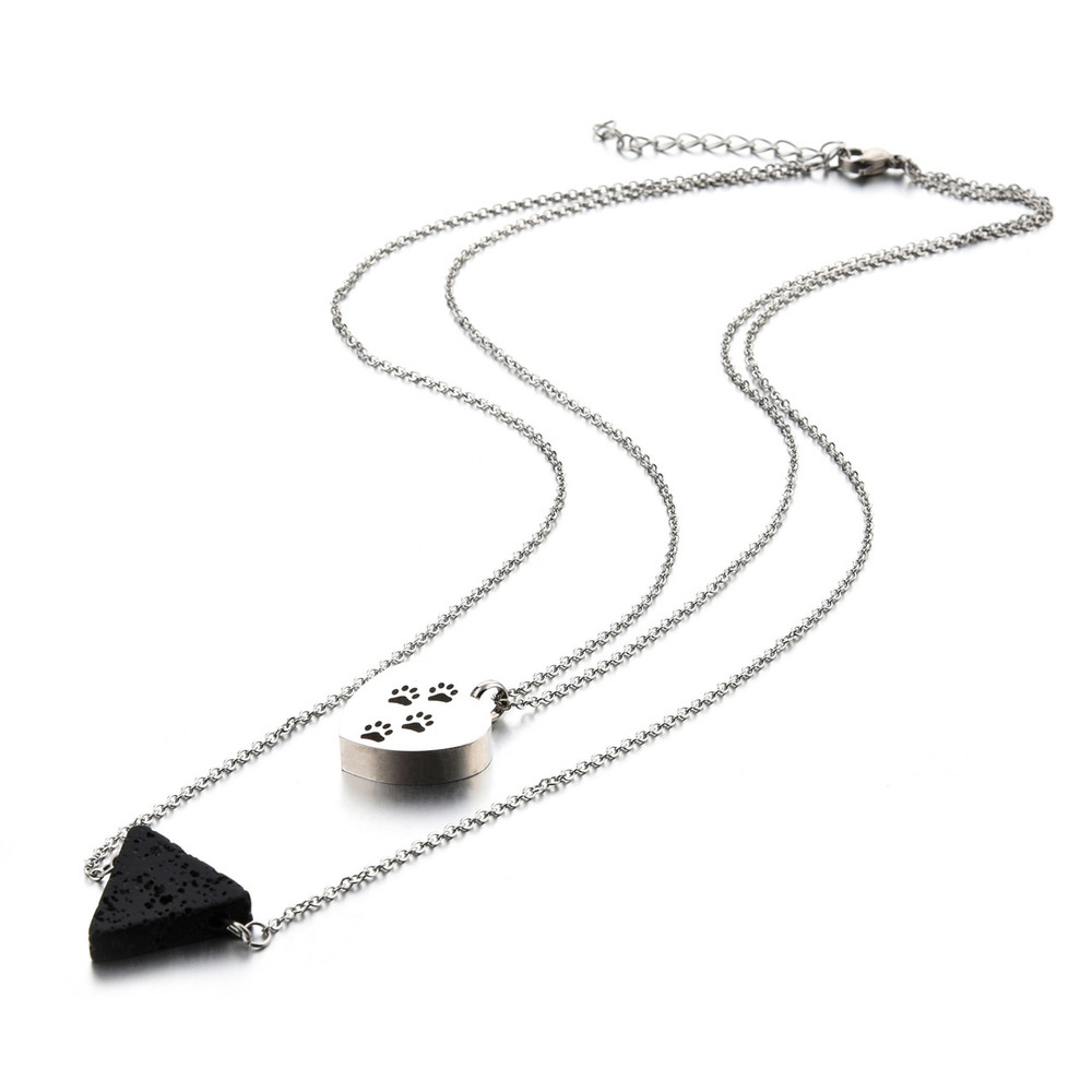 Double-chain pet memorial necklace with lava rock and puppy heart pendant