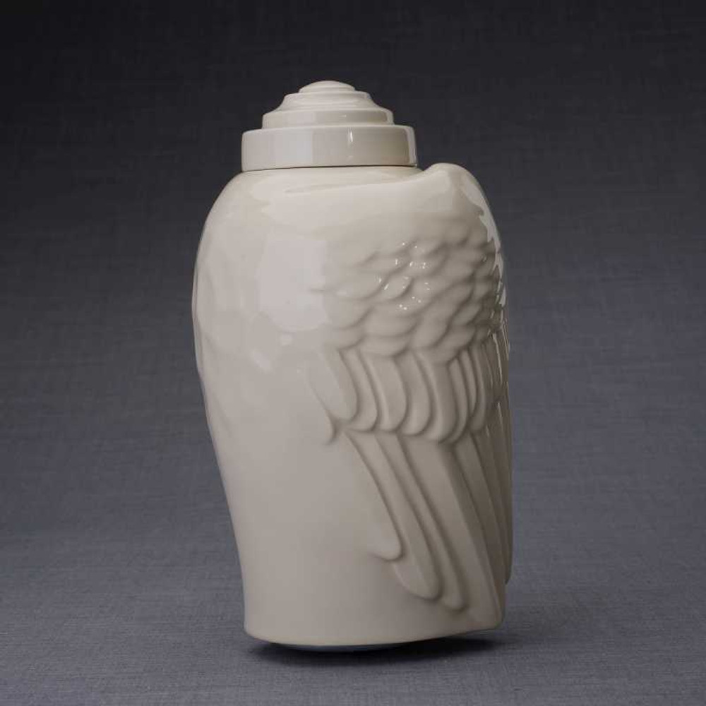 Angel Wings Sculpture Ceramic Cremation Urn in Transparent