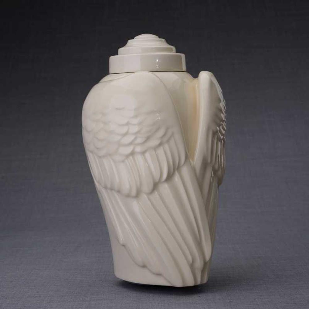 Angel Wings Sculpture Ceramic Cremation Urn in Transparent