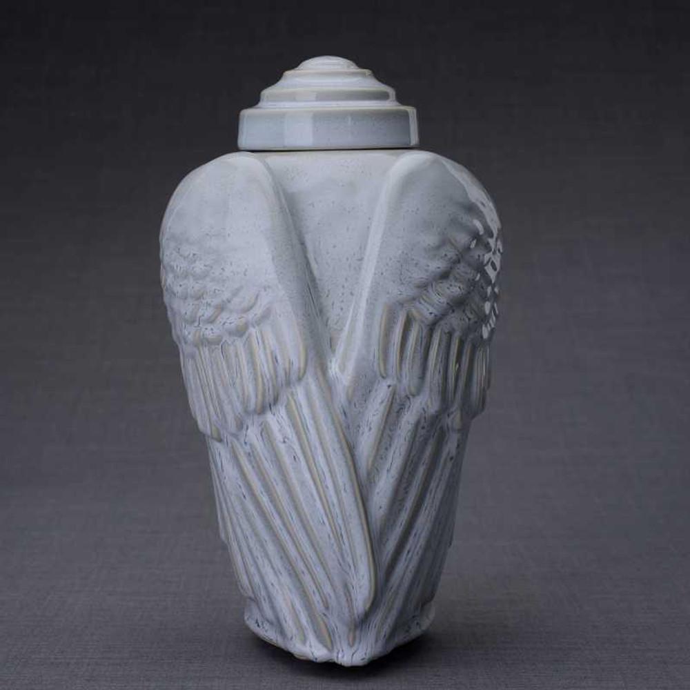 Grey Melange Angel Wings Ceramic Art Cremation Urn