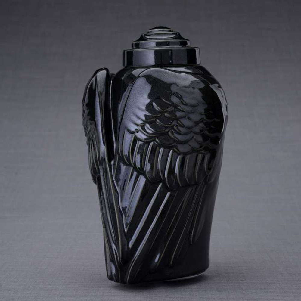 Angel Wings Ceramic Urn - Black Gloss Finish