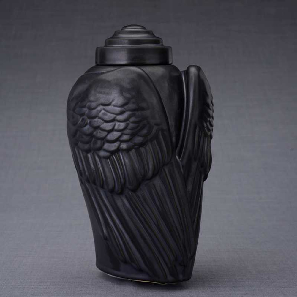 Angel Wings Ceramic Urn - Black Matte Finish