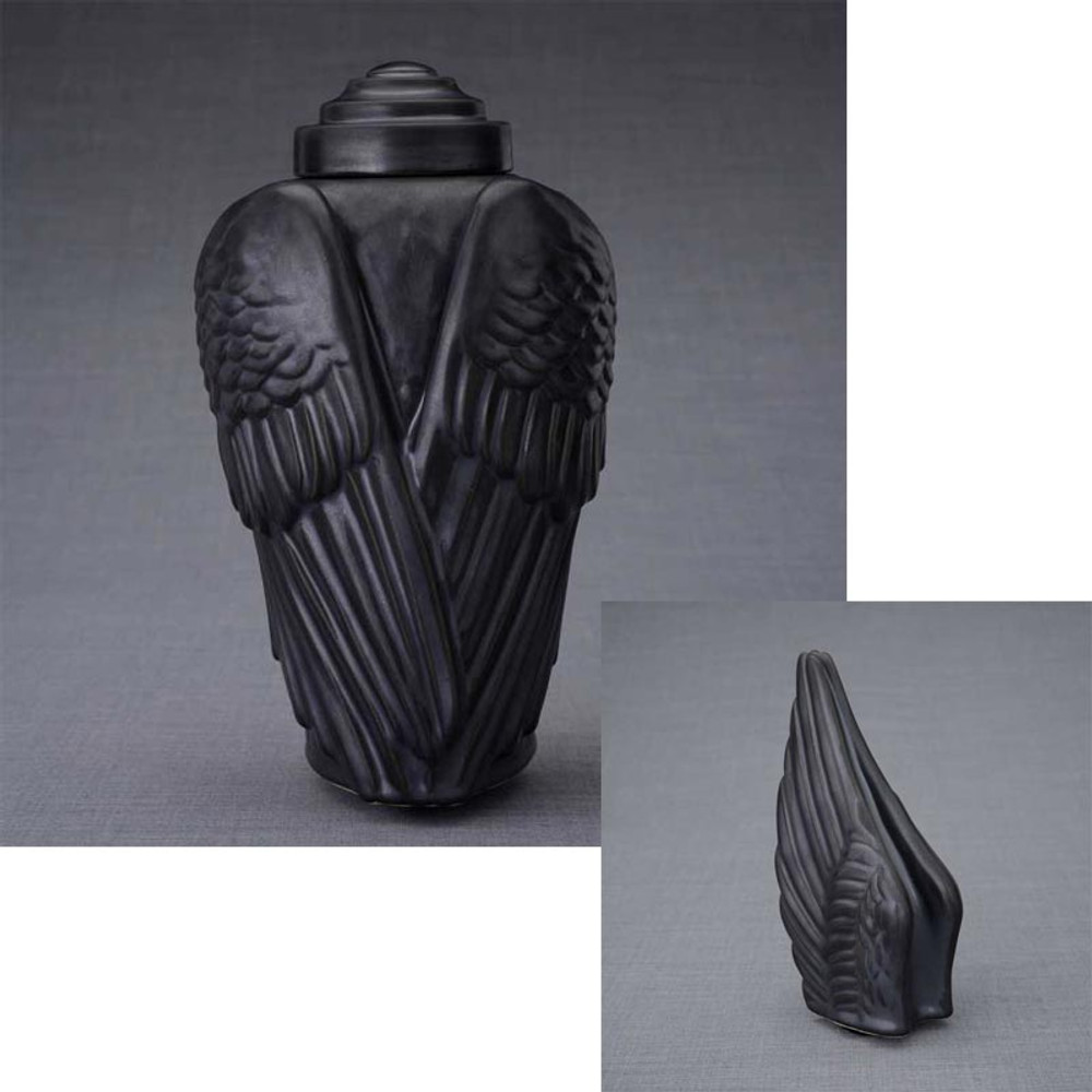 Angel Wings Ceramic Urn & Keepsake Set - Black Matte Finish